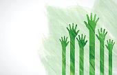 Green Watercolor Human Hands