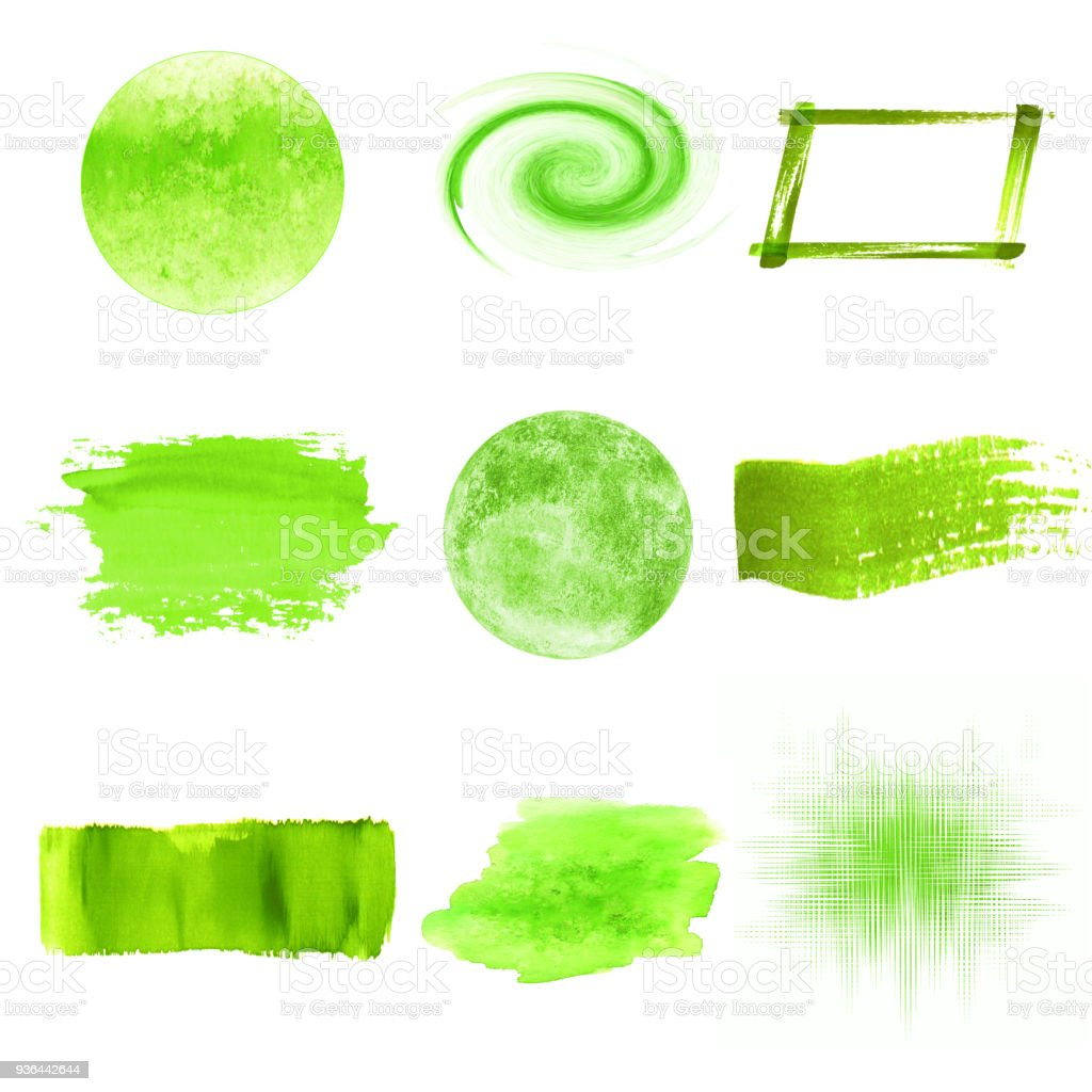 Green Watercolor Logo Design Template Spots Set Stock Illustration Download Image Now