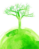 Green watercolor tree background