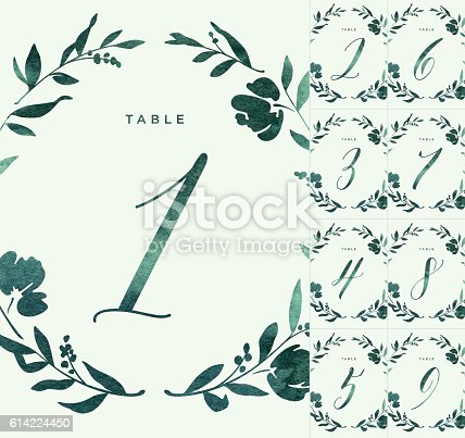 istock Green Watercolour Wedding Table Numbers 614224450