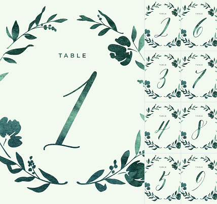 Green Watercolour Wedding Table Numbers