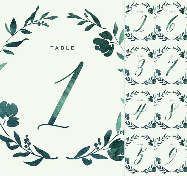 green watercolour wedding table numbers - tischarrangements stock-grafiken, -clipart, -cartoons und -symbole
