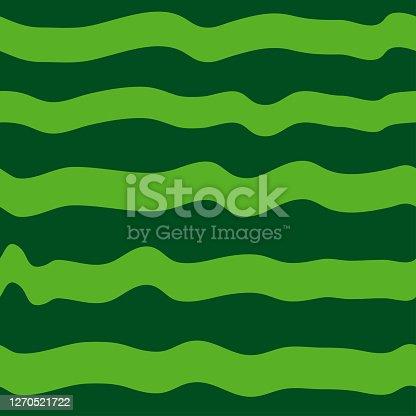 Green watermelon pattern. Flat style design - vector