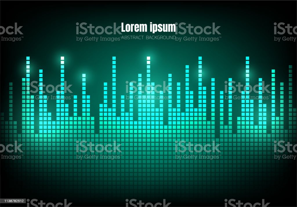 Green Wave Sound Pixel Equalizer Background Square Geometric