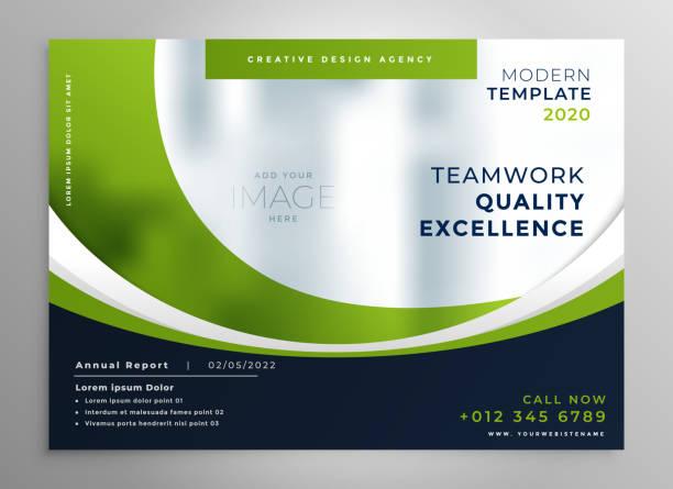 Grünwellige Business-Präsentation Broschüre Vorlage – Vektorgrafik