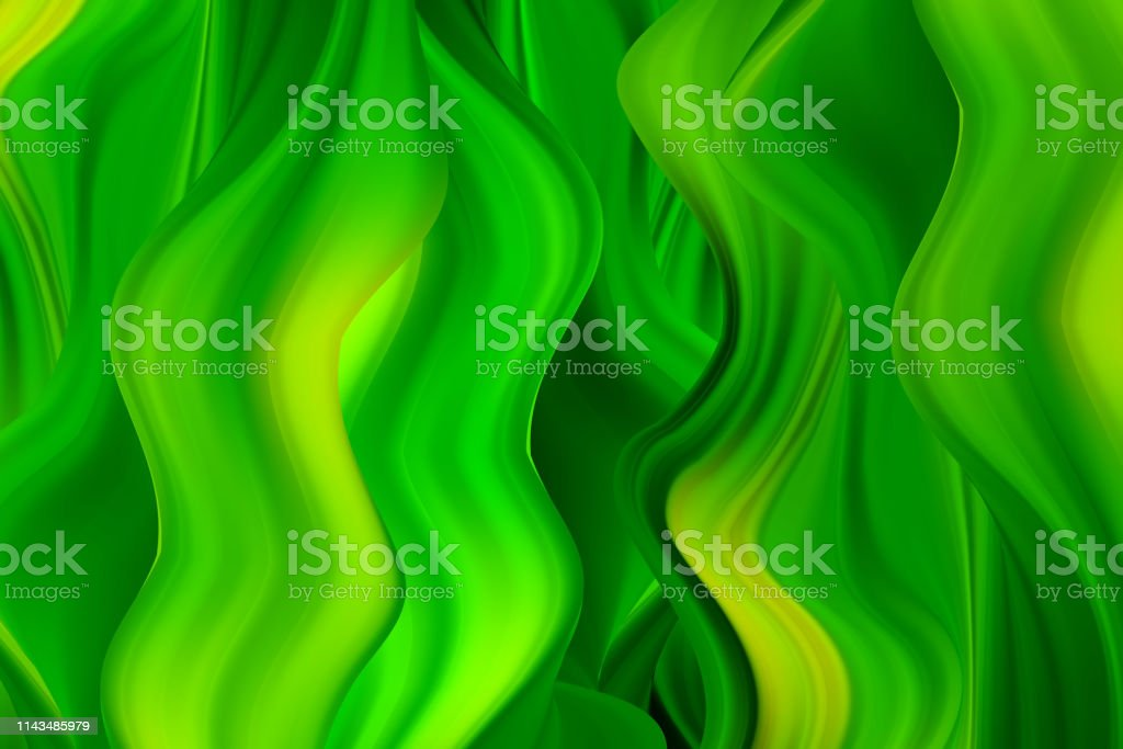 Green wavy paint streams. Vector abstract background. Acrylic paint...