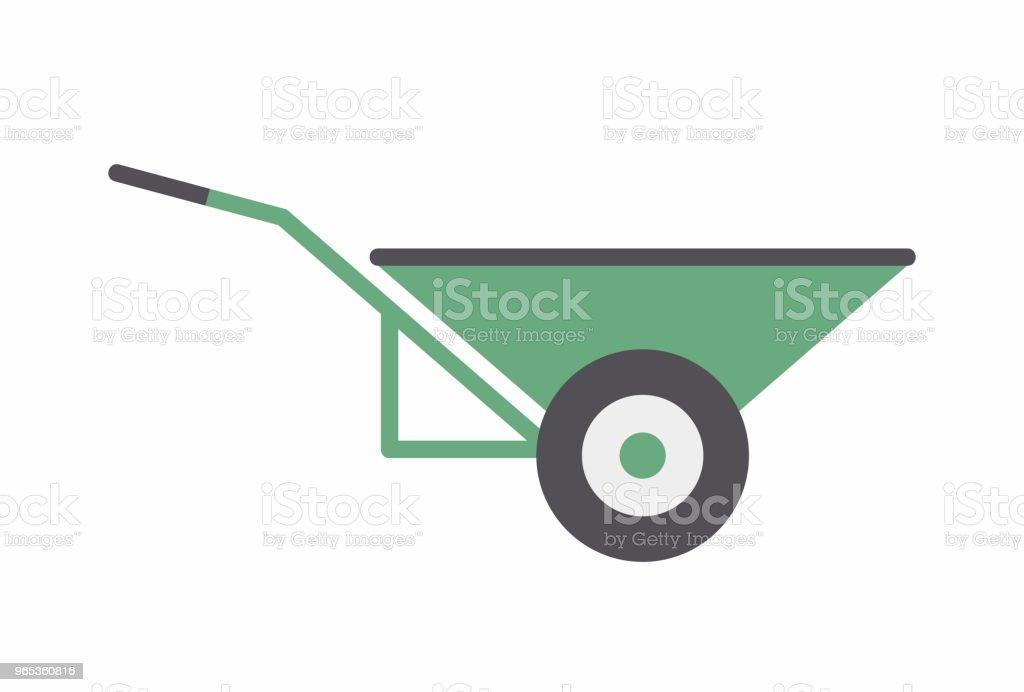 Green Wheelbarrow icon green wheelbarrow icon - stockowe grafiki wektorowe i więcej obrazów cień royalty-free