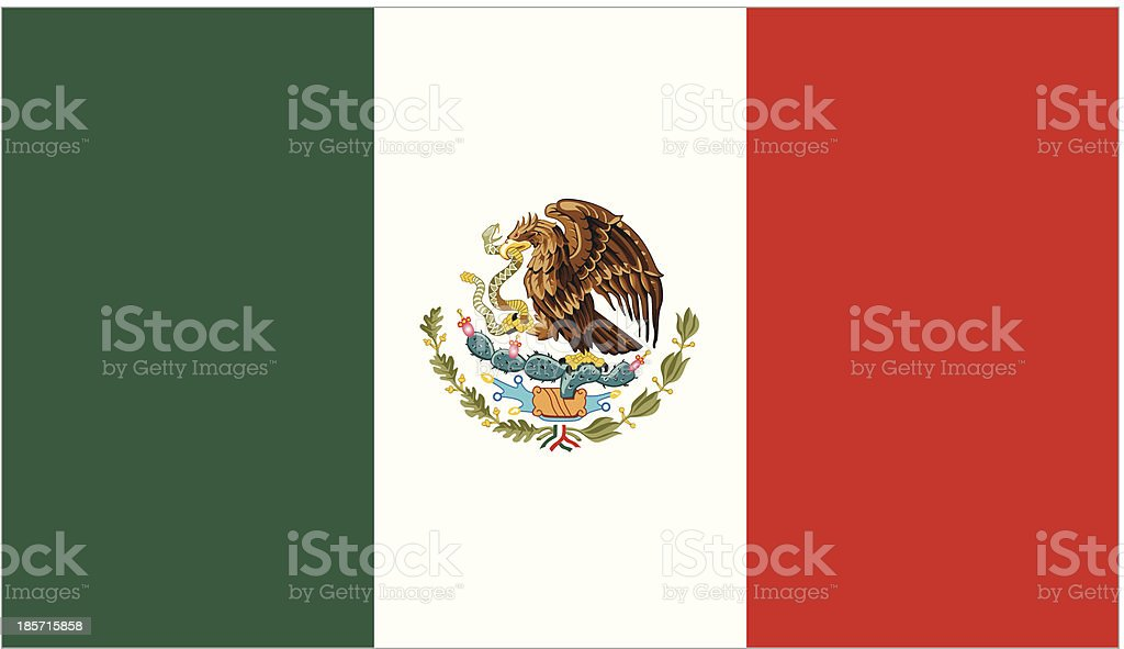 Green white and red Mexico flag vector art illustration