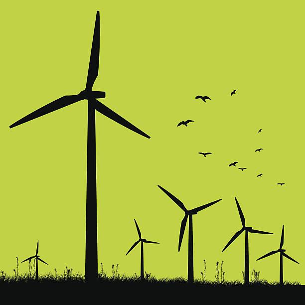 stockillustraties, clipart, cartoons en iconen met green windmills. - windmolen