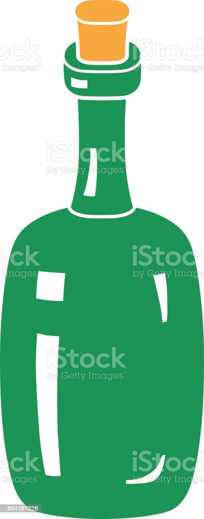 Green wine bottle silhouette. vector art illustration
