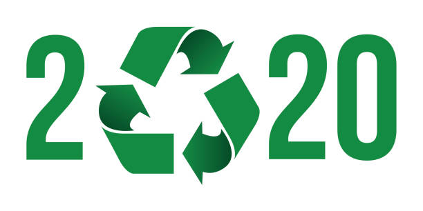 grüne wünscht sich 2020 das konzept des umweltschutzes und des abfallrecyclings. - altglas stock-grafiken, -clipart, -cartoons und -symbole