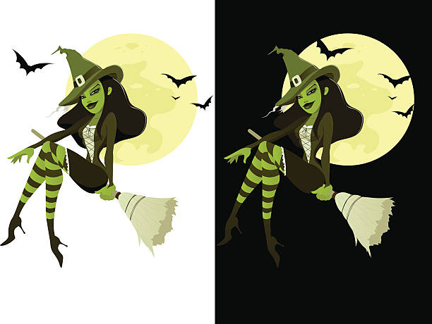 Green Witch vector art illustration