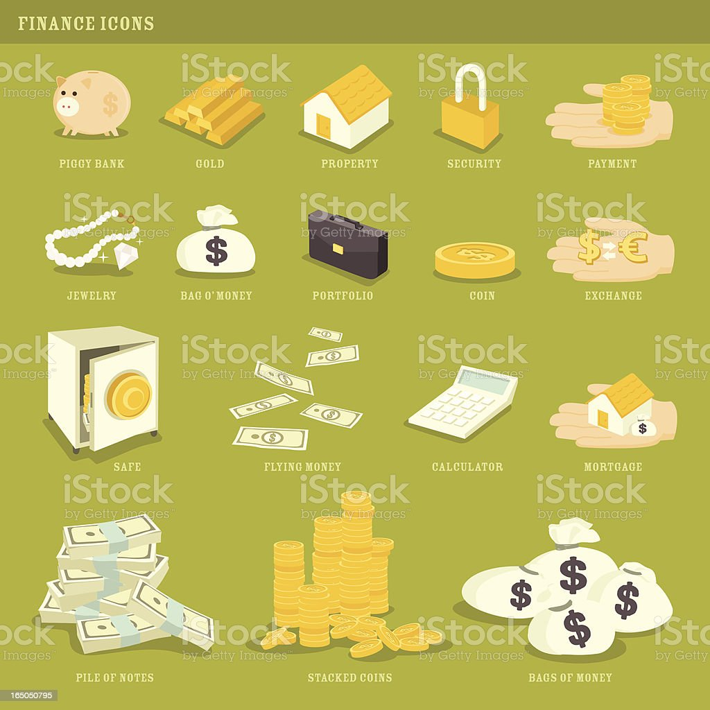 Green with Envy: Money and Finance Icons vector art illustration