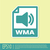 Green WMA file document icon. Download wma button icon isolated on yellow background. WMA file symbol. Wma music format sign. Vector Illustration