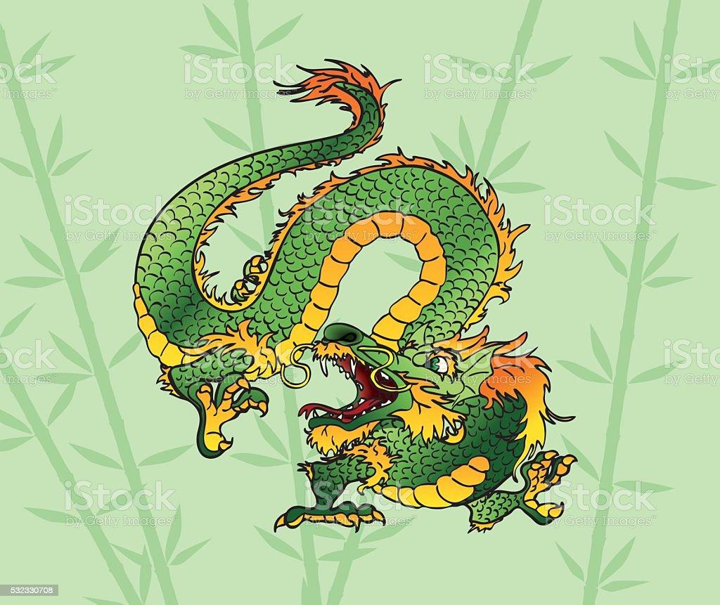 Зеленый дерева на фоне бамбука азиатских Дракон векторная иллюстрация