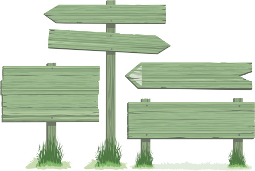 Green Wooden Signs