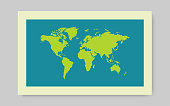Green Worl map with shadow on blue background. Vector illustration