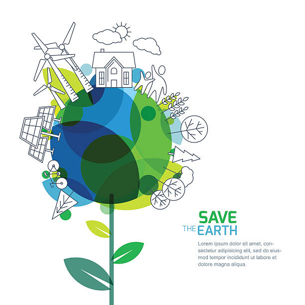 green world, environment, ecology concept. design for save earth day. - earth day stock illustrations, clip art, cartoons, & icons
