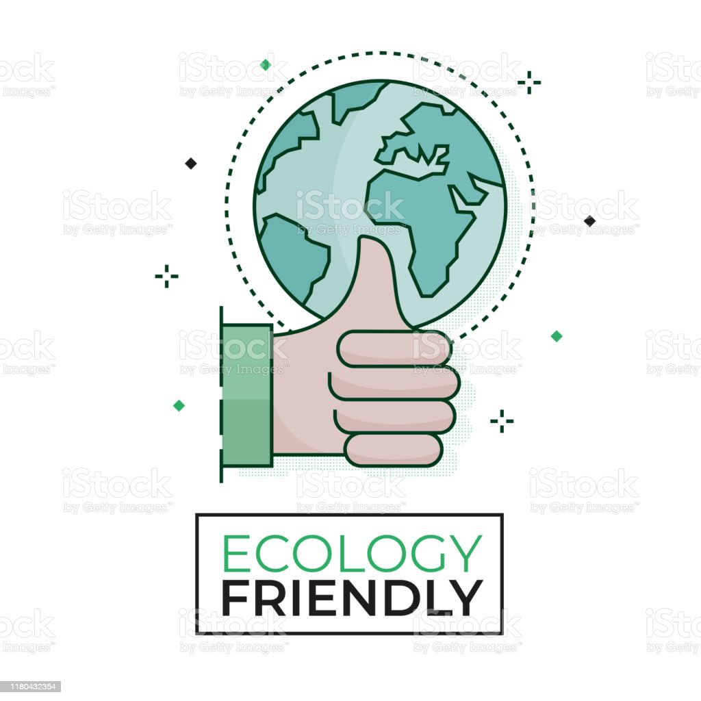 Green World Icon Ecology Friendly Editable Stroke Stock
