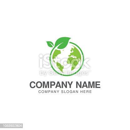 istock Green world logo or icon design template 1053932804