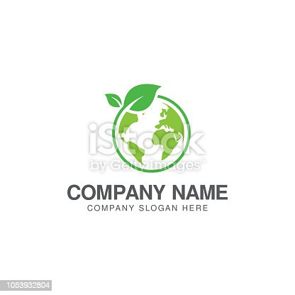 Green world logo or icon design template