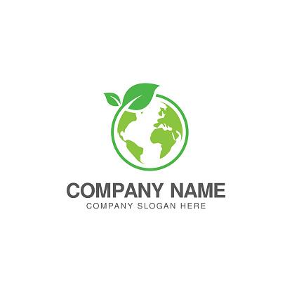Green world logo or icon design template