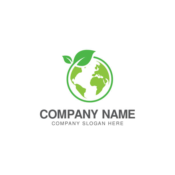 Green world logo or icon design template Green world logo or icon design template planet earth stock illustrations