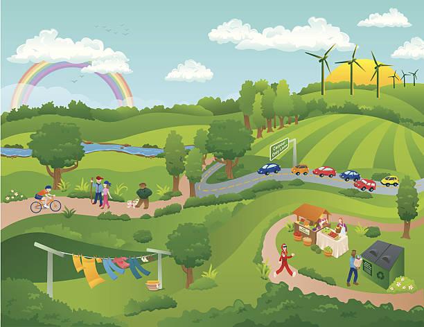 グリーンの世界 - 森林 俯瞰点のイラスト素材/クリップアート素材/マンガ素材/アイコン素材