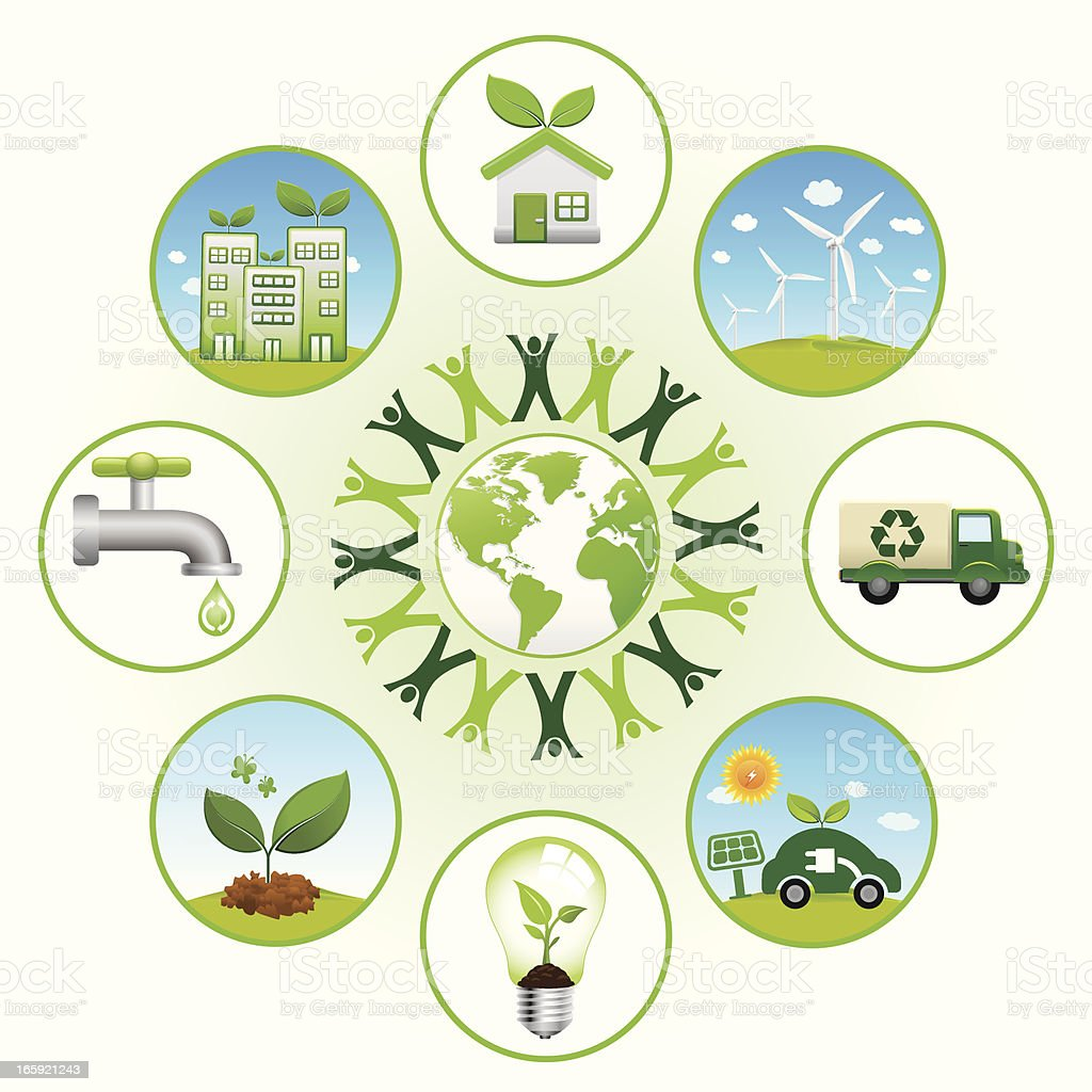 green world with recycle and renewable energy icons royalty-free green world with recycle and renewable energy icons stock vector art & more images of alternative energy