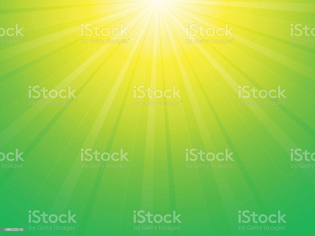 Sfondo Verde E Giallo Con Raggi Di Sole Immagini Vettoriali Stock