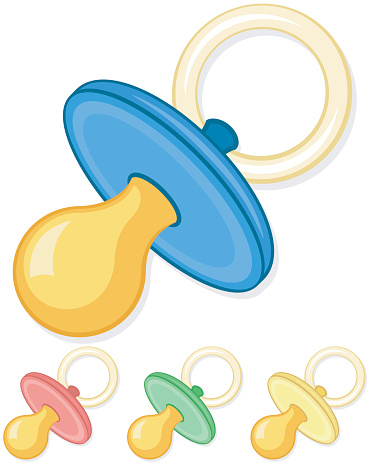 Green, yellow, blue and red pacifiers
