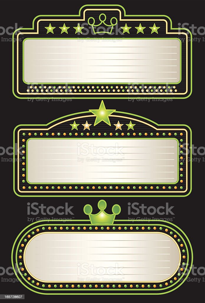 Green Yellow Neon Theater Marquees royalty-free stock vector art