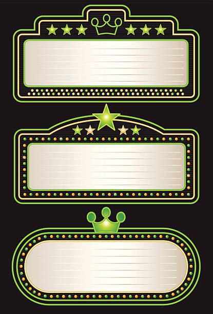 Green Yellow Neon Theater Marquees vector art illustration