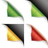Green, yellow, red leaf corner page curl, with dark and white background.