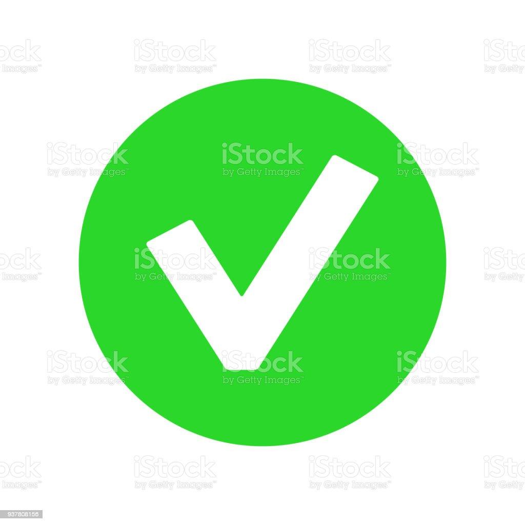 Green YES BUTTON icon. OK symbol. Vector