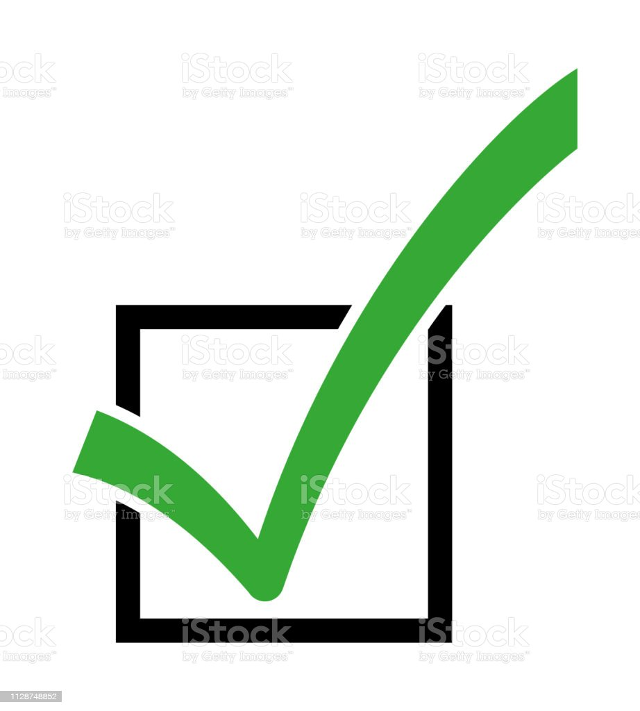 Green Yes Check Mark Symbol In A Square Box Stock