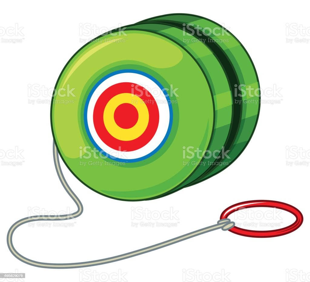 Green yoyo with red ring