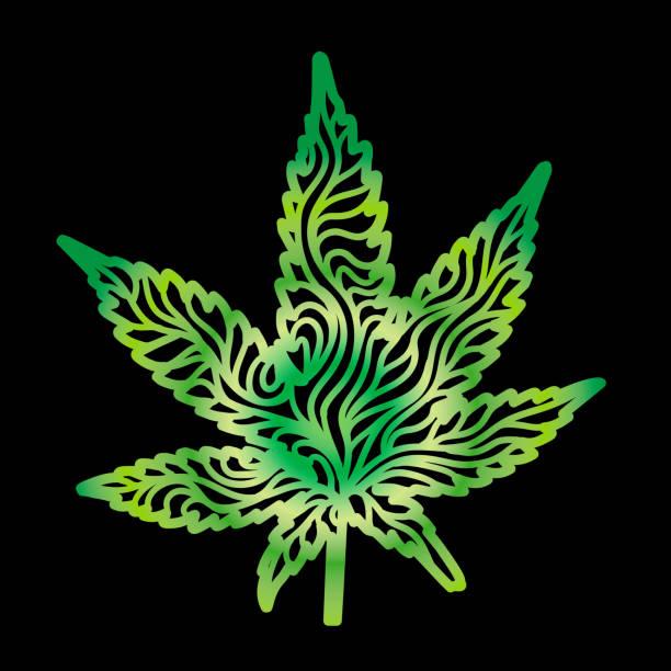 Green Zen Cannabis Leaf vector art illustration