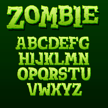 Green zombie text effect on black background. Cartoon style alphabet with shadow. Vector illustration