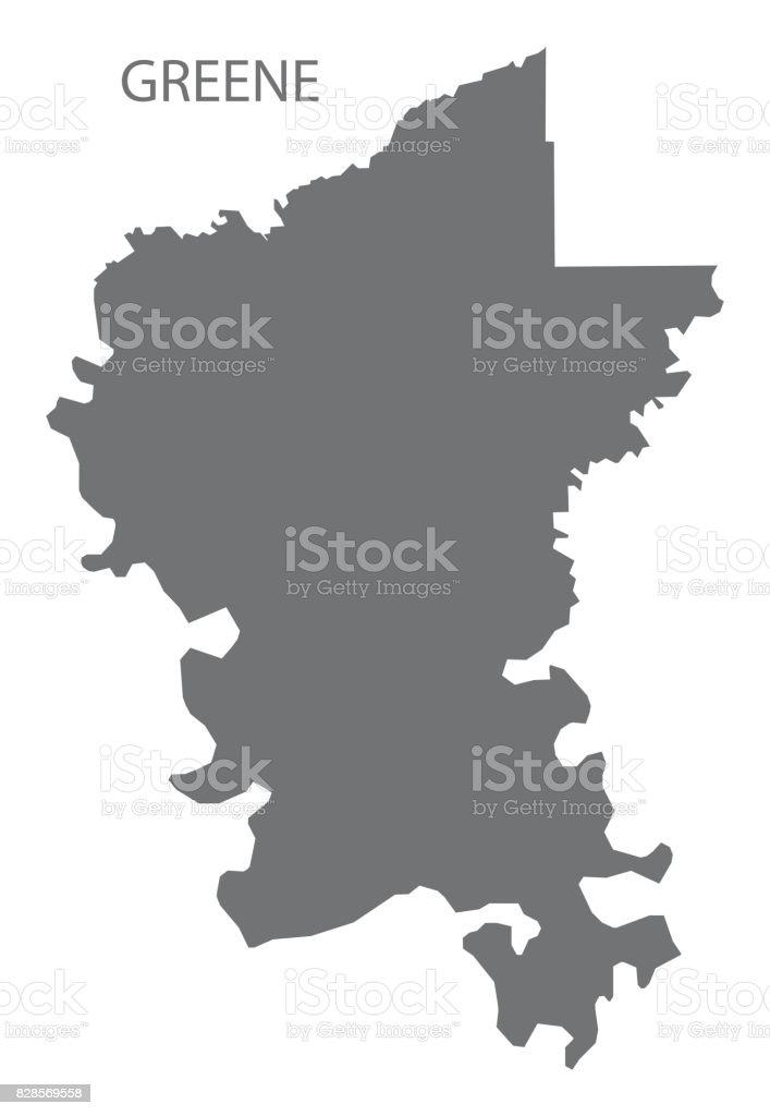 Greene county map of Alabama USA grey illustration silhouette