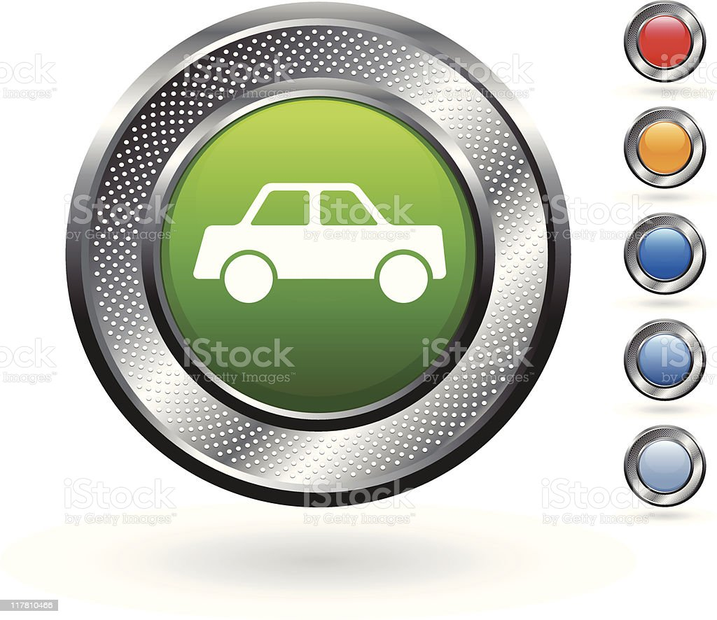greener auto royalty free vector art on metallic button