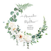 Greenery and white peony, rose flowers vector design round invitation frame. Rustic wedding greenery. Mint, blue, green tones. Watercolor save the date card. Summer rustic style. Isolated and editable