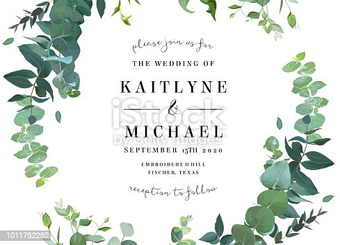 Herbal vector frame. Hand painted plants, branches, leaves on white background. Greenery botanical wedding invitation. Watercolor style. Natural card design. All elements are isolated and editable.