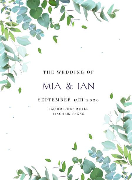 bildbanksillustrationer, clip art samt tecknat material och ikoner med grönska botaniska bröllopsinbjudan. - eucalyptus