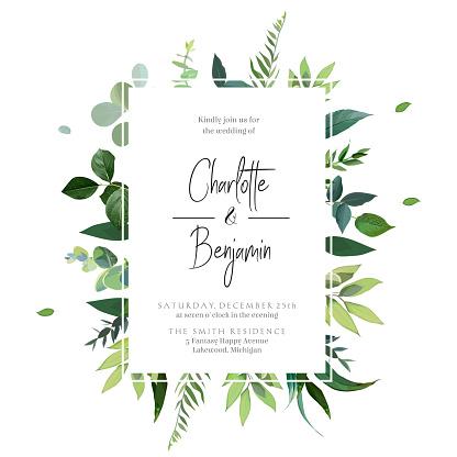 Greenery botanical wedding invitation.