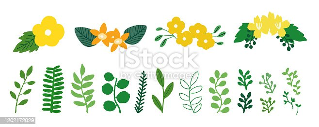 Set of different greenery isolated objects. Isolated vector illustration for spring design.