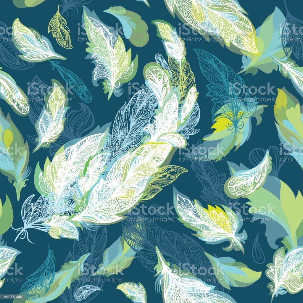 Greenery Romantic Vector Feather Pattern vector art illustration