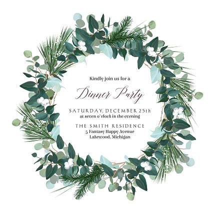 Greenery round wreath with eucalyptus, mistletoe, emerald spruce, pine