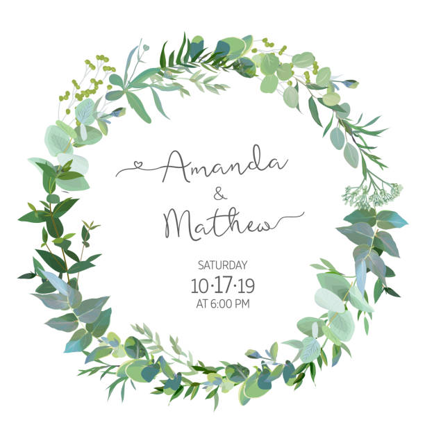 Greenery selection vector design round invitation frame Greenery selection vector design round invitation frame. Rustic wedding greenery. Mint, blue, green tones. Watercolor save the date card. Summer rustic style. All elements are isolated and editable lush foliage stock illustrations