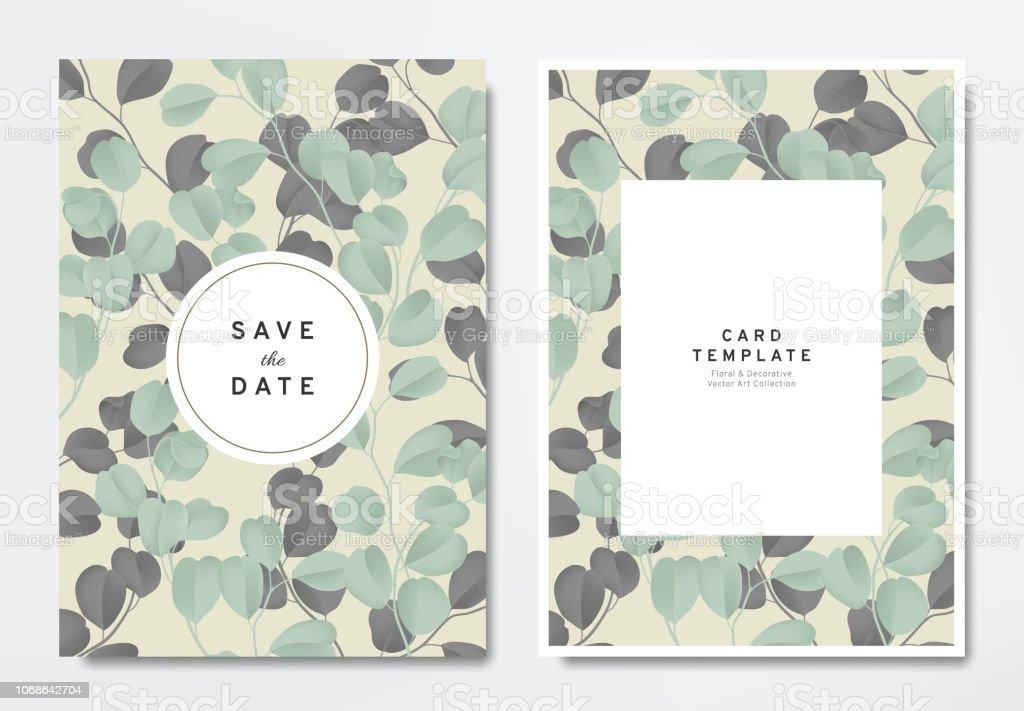 Greenery Wedding Invitation Card Template Design Green And Black ...